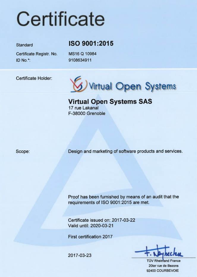 quality management system ISO9001 certification for virtualization ...