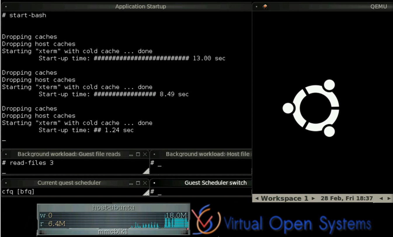 virtualization demo showing the V-BFQ scheduler in action